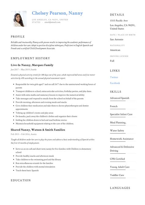nanny resume writing guide 12 template samples