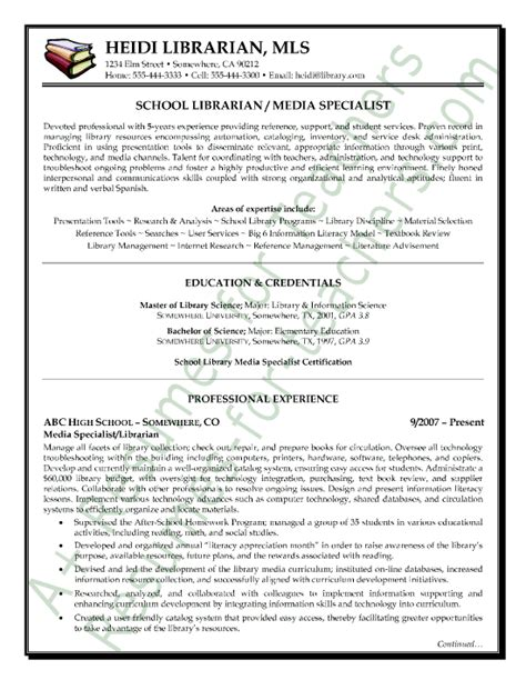 media librarian resume sle page 1 school librarian
