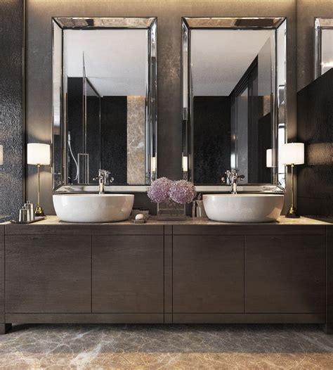 luxurious apartments dark modern interiors bathroom mirror design