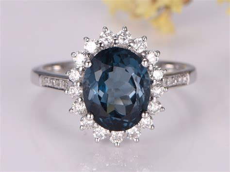 myray 8x10mm oval cut london blue topaz ring