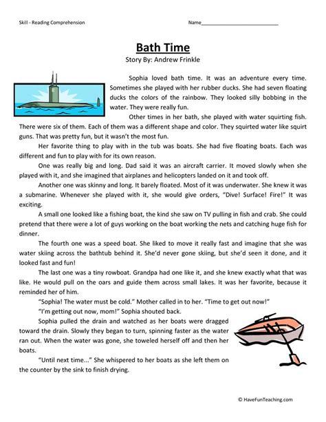 bath time reading comprehension worksheet fun teaching