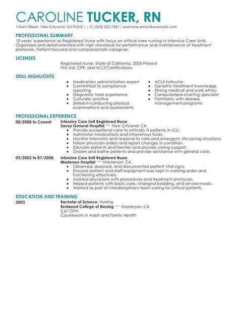 entry level nurse resume sle sle resumes nursing