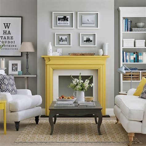 pale grey living room yellow fireplace living room