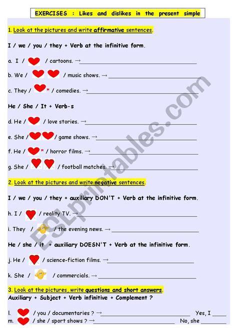 likes dislikes exercises esl worksheet emilie10