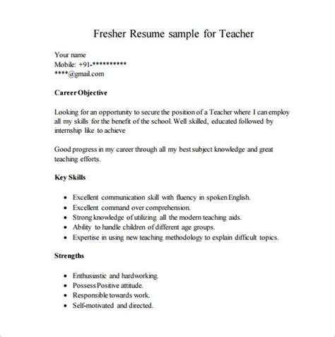 resume template fresher 10 free word excel format