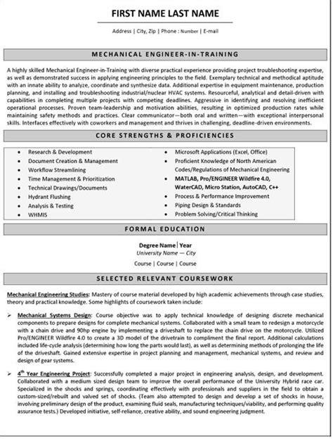 mechanical engineer resume sle template mechanical engineer resume
