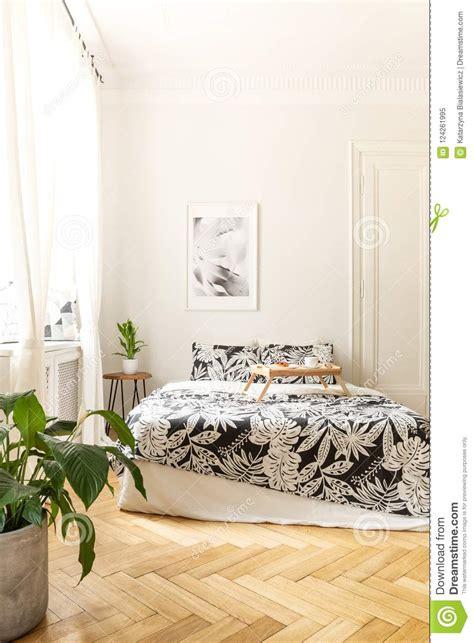 vertical view bright bedroom interior big bed standing