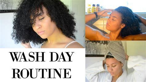 wash natural hair wash day routine youtube