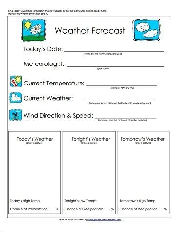 weather forecast worksheet great teaching tool basic weather