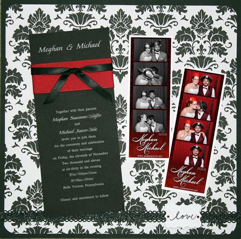 black white red wedding scrapbook page amy mccabe