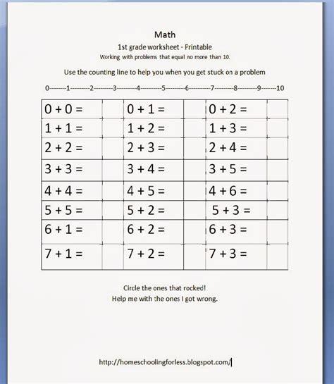 homeschooling 1st grade math worksheet free printable