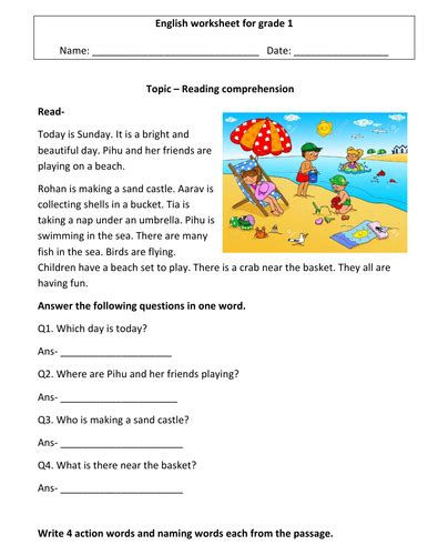 comprehension worksheets grade 1 3 worksheets teaching resources