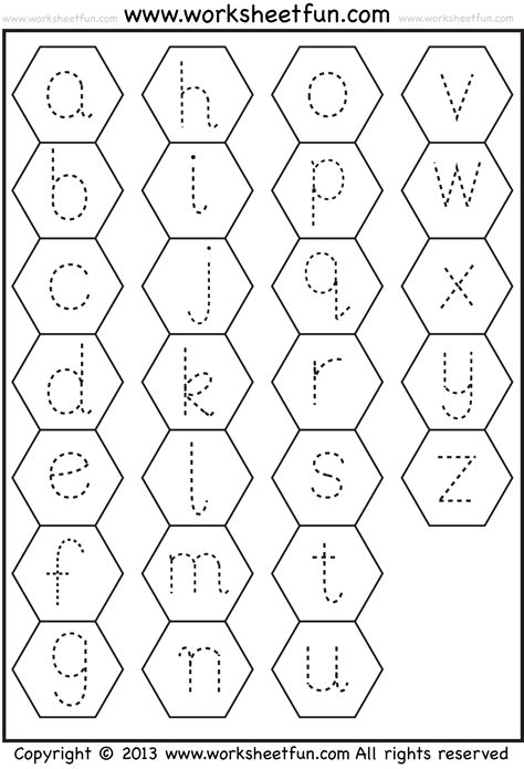 small letter tracing lowercase worksheet hexagon free printable