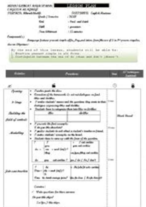lesson plan teaching present simple tense person singular