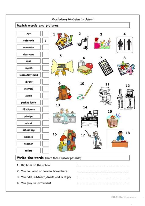 vocabulary matching worksheet school english esl worksheets distance