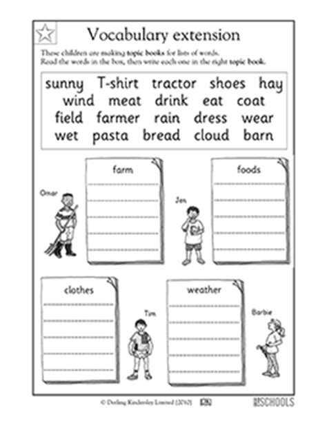 1st grade reading writing worksheets vocabulary word sort