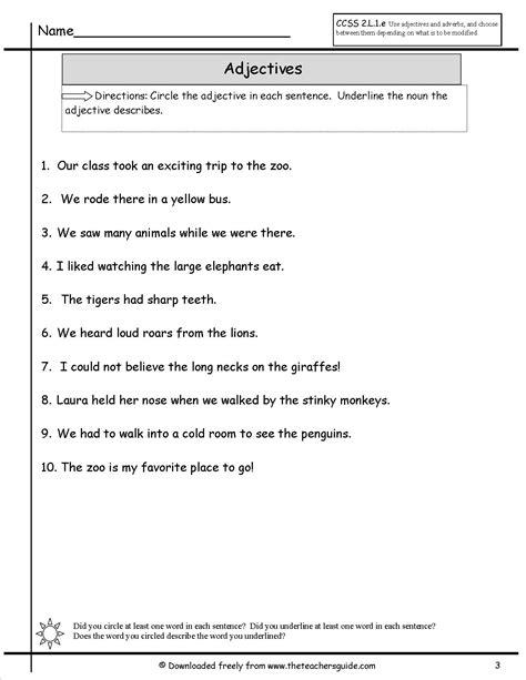 adjectives worksheets teacher guide