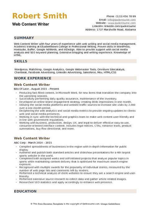 web content writer resume sles qwikresume