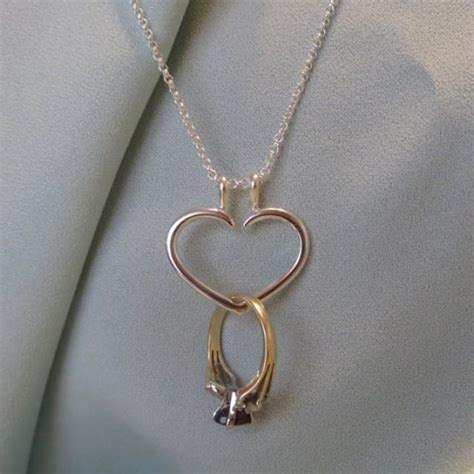heart engagement ring holder necklace charm pendant sterling