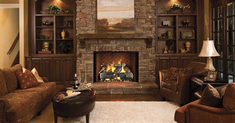 gas fireplace logs add rustic touch hearth