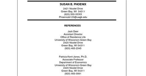 reference sle resume resume reference page professional portfolio