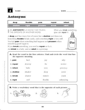 antonyms grade 3 vocabulary printable skills sheets