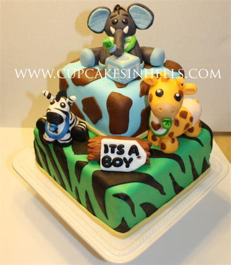 baby safari animals baby shower cake elephant
