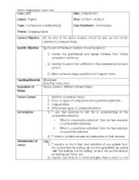 lesson plan comparative adjective esl worksheet nalani at5