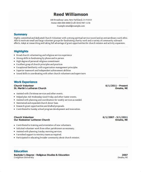 10 volunteer resume templates doc free premium templates
