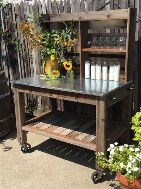 potting bench leedisplayseasonals etsy zinc table wooden garden
