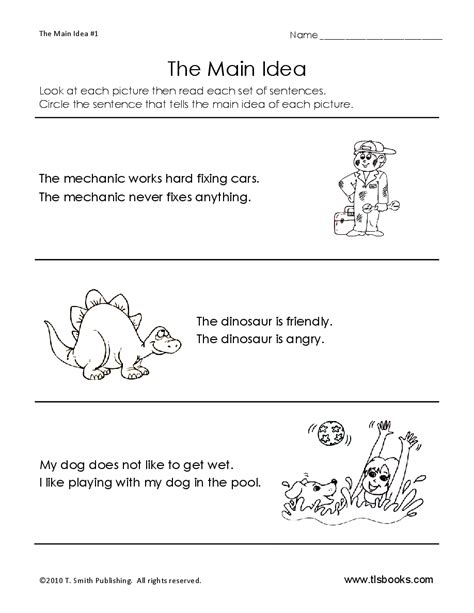 main idea worksheet good site worksheets grade level