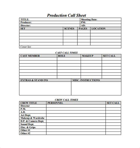 call sheet template 25 free word documents download