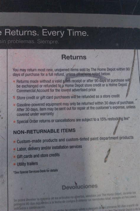 return home depot receipt insured ross