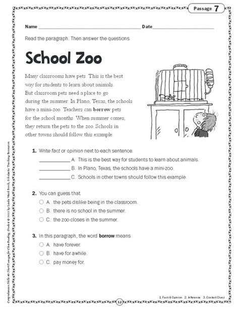 comprehension skills short passages close reading grade 2