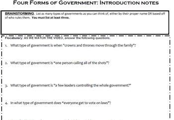 flocabulary forms government worksheet ms laceys learning legends