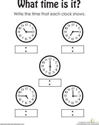 telling time 2 grade math worksheets 1st grade