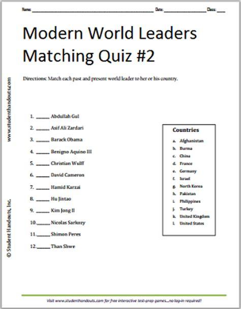 modern world leaders printable matching quiz 2 student