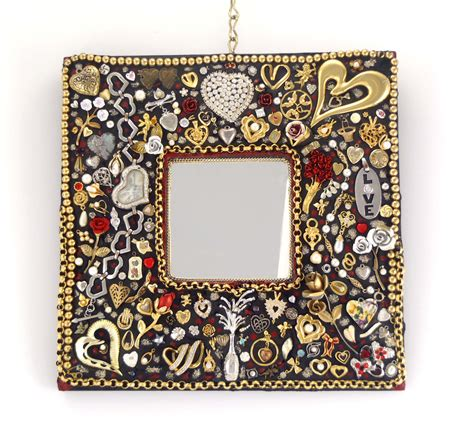 decorative wall mirror hearts roses jeweled frame