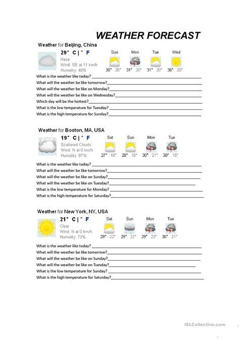 weather forecasts worksheet free esl printable
