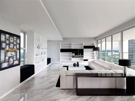 ultra modern sky condo interior design black white