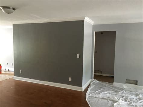 behr silver bullet gunmetal gray accent wall living