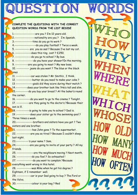 question words practice interactive worksheet