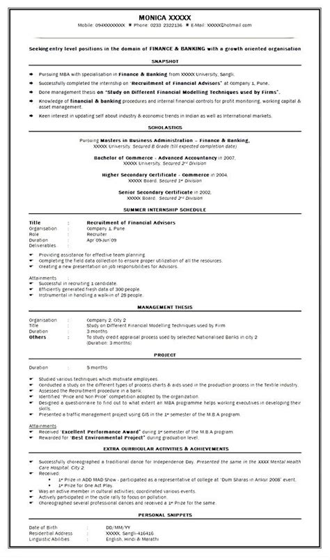 resume format mba finance experience sle resume skills