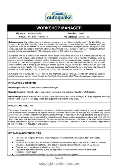 newest sle resume automobile workshop manager workshop manager