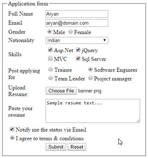 jquery reset clear asp html controls web form