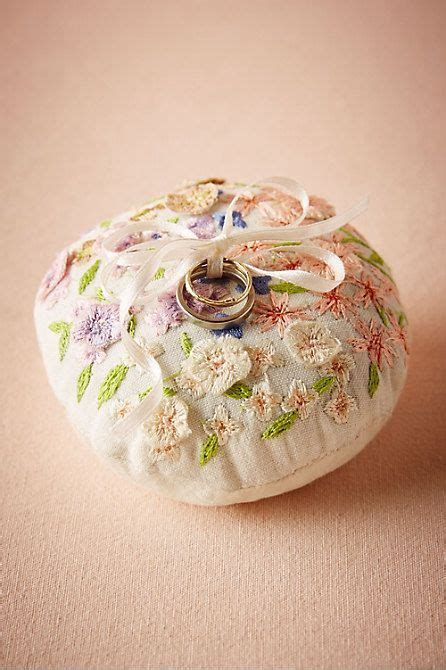 floral embroidered ring pillow wedding ring cushion unique