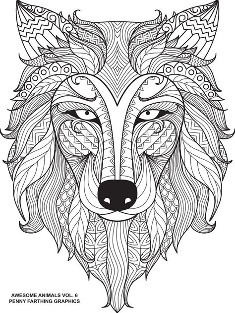 wolf awesome animals volume 6 animal coloring pages