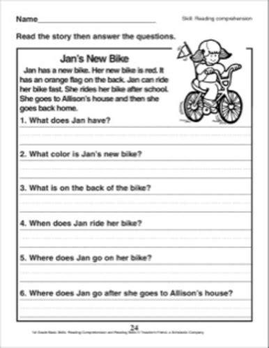 english comprehension worksheet kindergarten grade 1 teaching resources