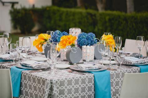 modern yellow blue wedding ideas detail