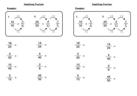 simplifying fractions deechadwick teaching resources tes